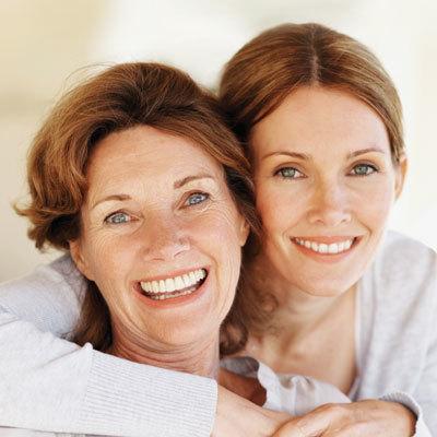 Happy mum and daughter
